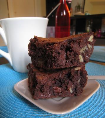Premier brownie, au chocolat et aux noix de pécan