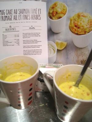 Mugcake salé saumon et fromage ail et fines herbes, boursin quoi :)