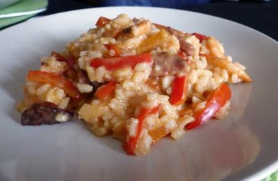 Recette de risotto au chorizo, poivron et crevettes