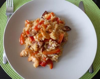 Recette de risotto au chorizo, poivron et crevette