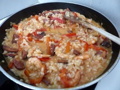 Fin de cuisson, ajout des crevettes